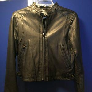 True Religion Jeans Black Lambskin Leather Jacket